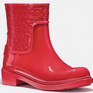 Coach Signature Rain Boot True Red 9 NEW IN BOX